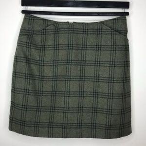 Plaid Olive Green Pencil Skirt sz 6